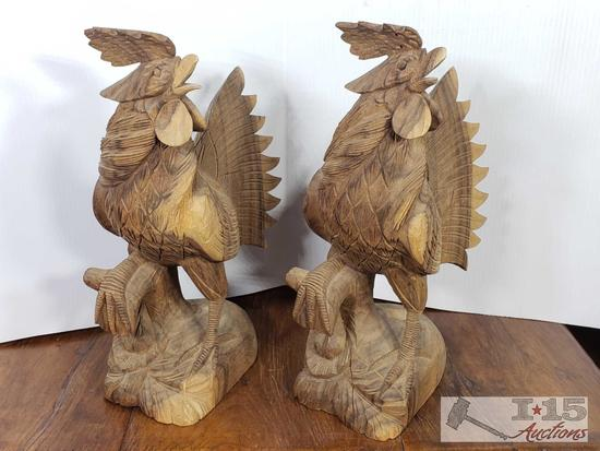 Hand Carved Javanese Ebony Wooden Roosters