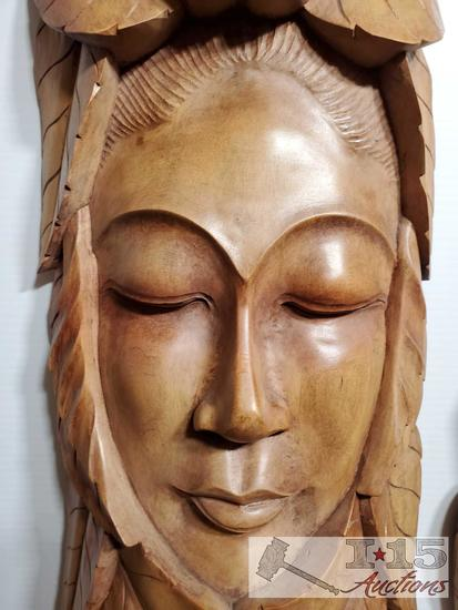 Hand Carved out of Red Mahogany Resting face of Woman, Created to bring peace and relaxation