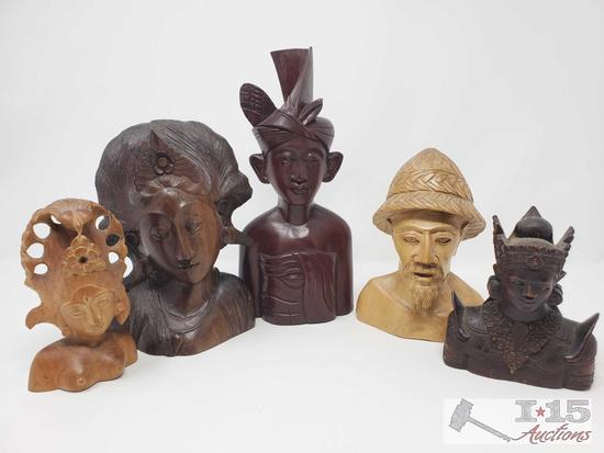 Five Handcarved Wooden Statues