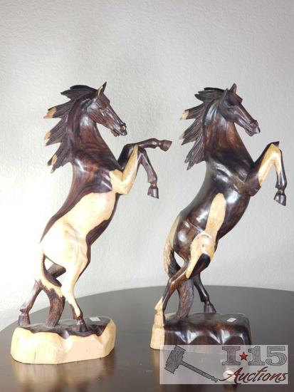 Two toned Javanese Ebony, hand carved Horses. The wood is naturally two toned colored.