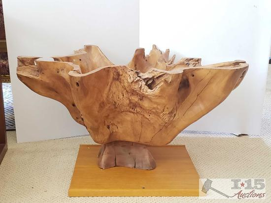 Hand carved from roots of a teak tree, ...base for a side table, Just add glass.