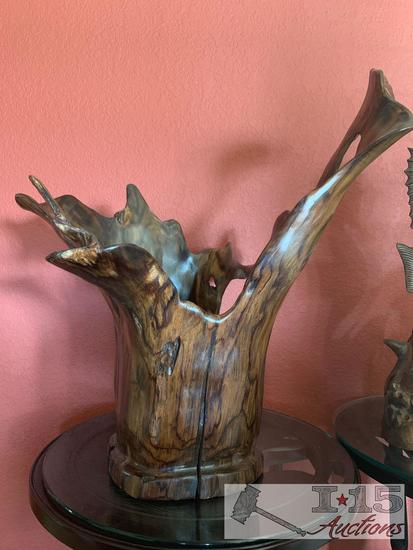 Carved Javanese Ebony Wood Bowl. Hand Carved from the roots of a Javanese Ebony tree