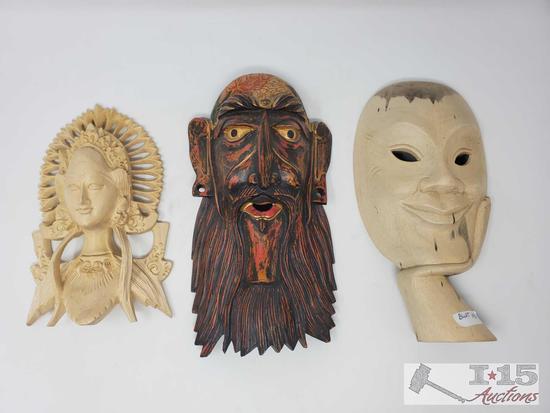 Three Handcarved Wooden Masks
