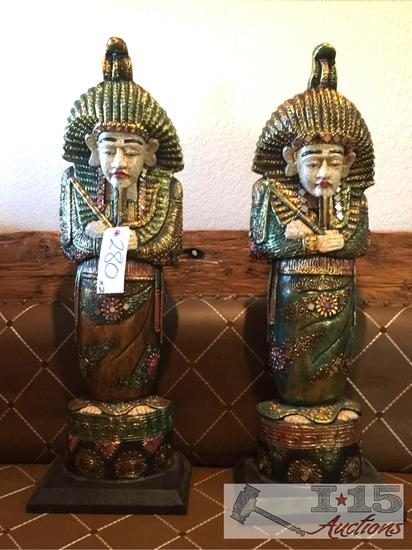Hand Carved Egyptian Pharaohs, Hand painted. Made from Balsa wood
