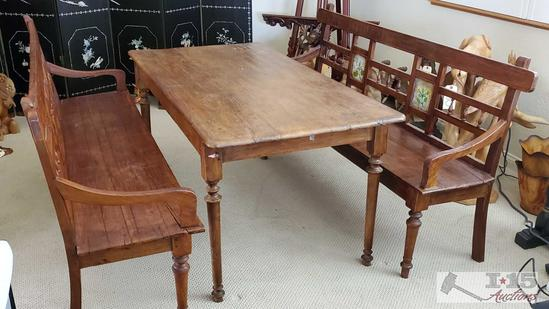 Late 1800?s Teak wood with Dutch Reverse painting on glass inlays. One of a kind, gorgeous table. &
