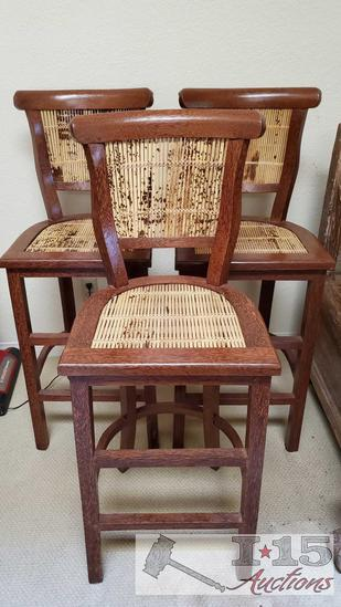 Three Coconut Palm with Tiger Bamboo Wooden Barstools