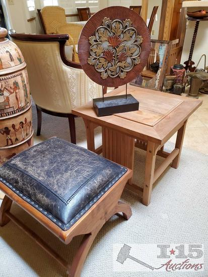 Small Ottoman, Teak sidea Table and Table Top Decoration