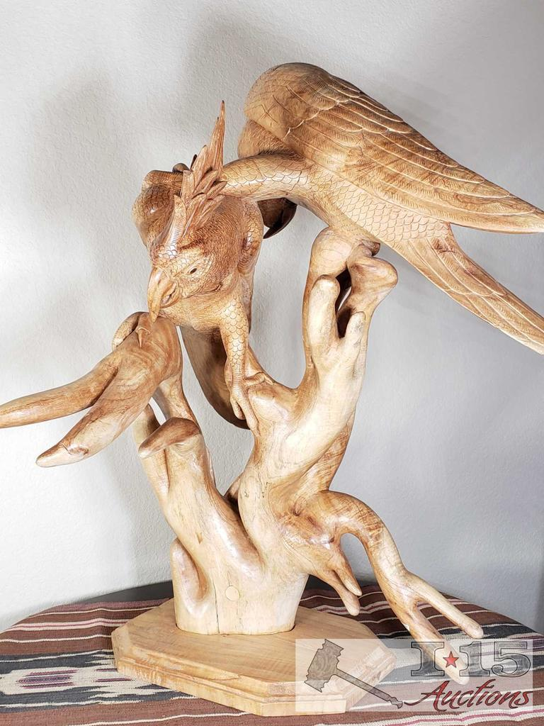 Hand Carved from Javanese Mahogany Wooden Birds on Branches