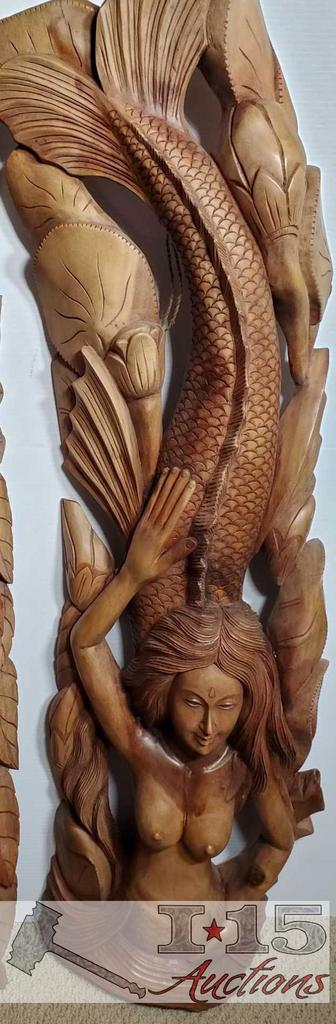 """42"""" Tall Wood Carvings Mermaid wooden wall decor Excellent details on the face."""