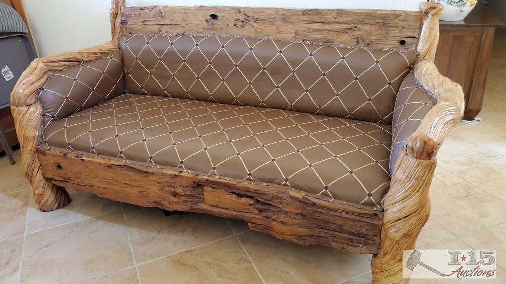 One of a Kind Bench made out of Petrified Vines and Teak Wood