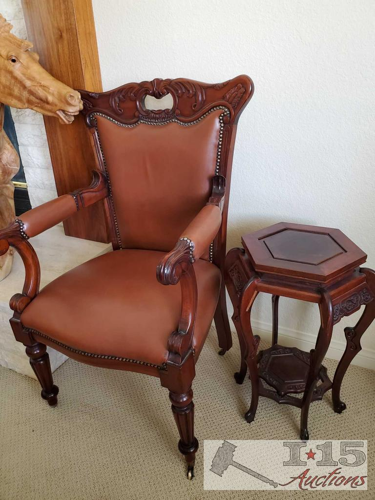 Hand Carved Italian design Office chair with leather. End table not included