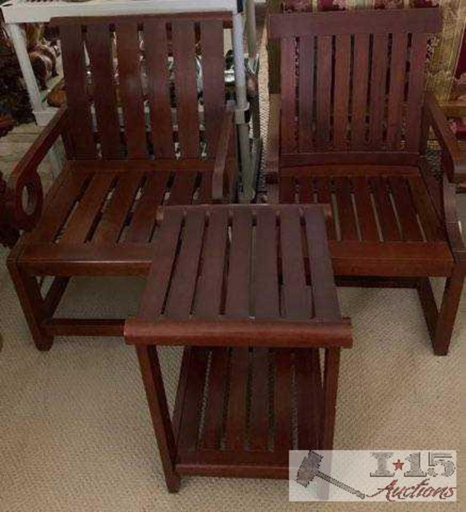 Two Hand Carved Merbau exotic Wood Chairs