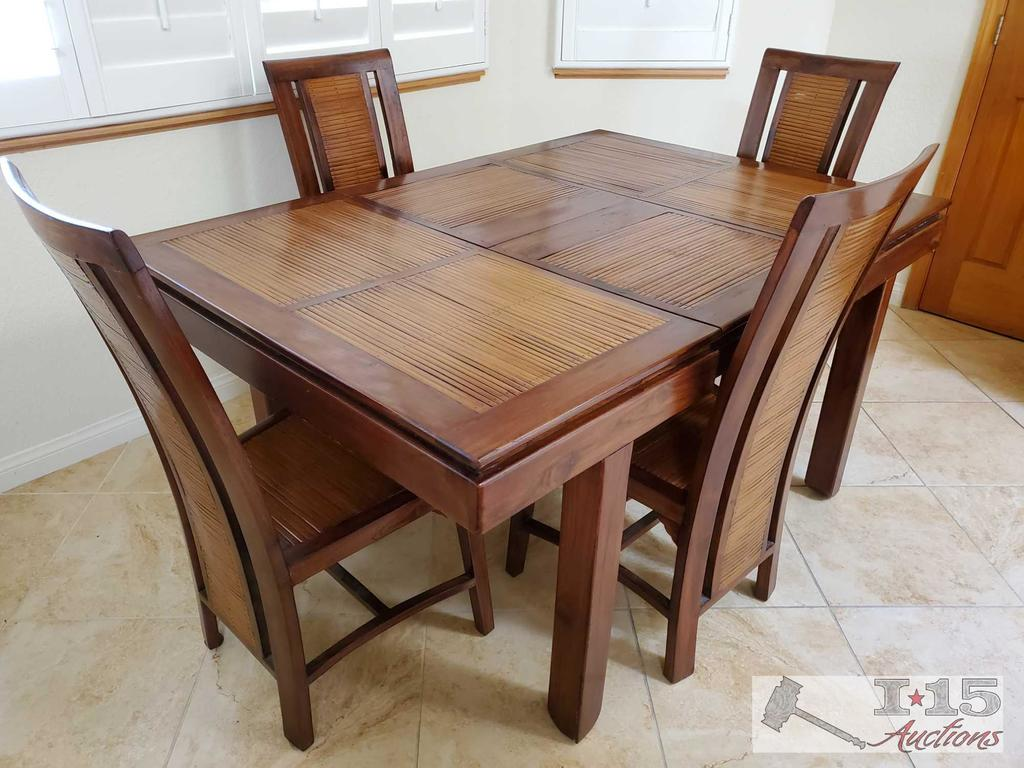 Hand made from Mahogany and bamboo top Dining Table with 4 Chairs