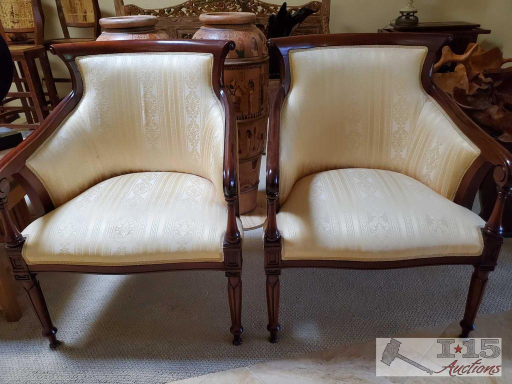Two Italian design, red mahogany Yellow and White textile cushions, Accent Chairs