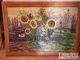 Framed Sun Flower Carved Wood Painting