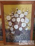 Daisy Wood Carving Painting