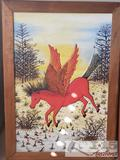 Wood Carved Painting of a Pegasus