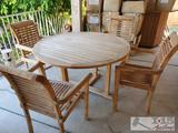 Wooden Patio Table with 4 Chairs