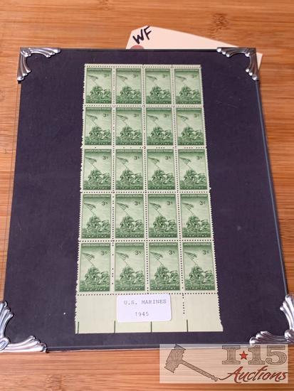 United States 3 Cent Marine stamps framed
