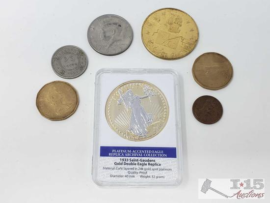 1933 Saint Gaudens Gold Double Eagle Replica Coin and Six Other Coins