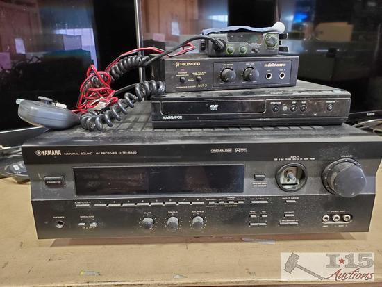 Yamaha AV Reciever, Magnavox DVD Player, Pioneer Karaoke Mixer and Radioshack CB Radio