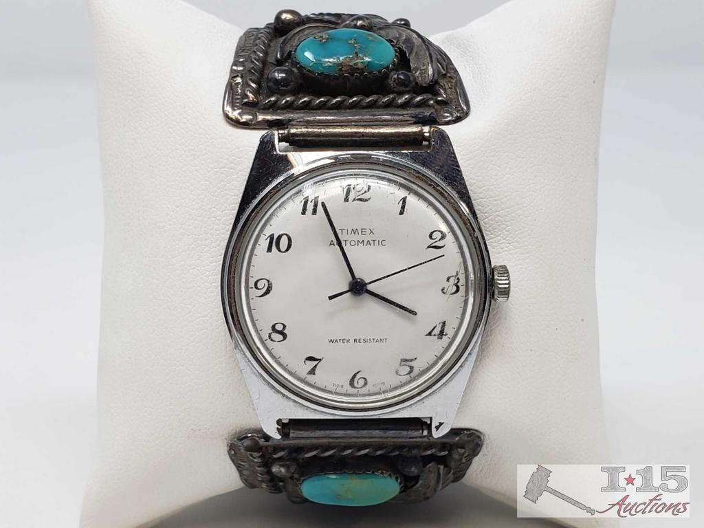 Timex Watch with Turquoise Stones