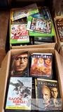 Two Boxes Full of Assorted DVDS, Video Games and VHS Tapes