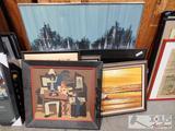 Ten Framed Pieces of Artwork
