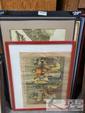 Four Pieces of Framed Artwork and Six Michael Jones Architect Layouts