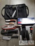 10 Knives and 1 Camp Axe, Winchester, Buck, Smith & Wesson, and Field & Stream