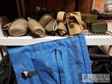 Various Military and Military Style Items. Bags, Goggles, Canteens, Hodgman Plast-a-ply new in