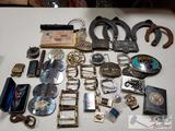 Misc Belt Buckles, Pins, Horseshoes, Post Cards, and More