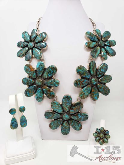 Navajo Silversmith Garrison Boyd Sterling GIANT Silver Squash Blossom Necklace - Ring -Earrings Set