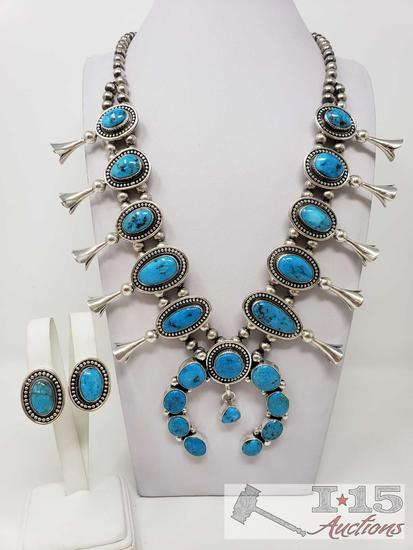 Darrin Livingston Contemporary Candelaria Turquoise Squash Bloosm Necklace & Earring Set