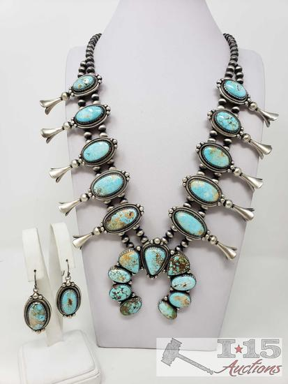 Jimmy Lee Contemporary Royston Turquoise Large Squash Blossom & Earring Set