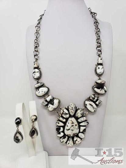 Rare Find Pansy Johnson White Buffalo Turquoise ONE OF A KIND Handmade Cluster Necklace