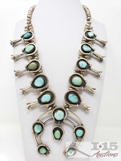 RARE GREEN TURQUOISE VINTAGE NAVAJO STERLING SILVER SQUASH BLOSSOM NECKLACE OLD
