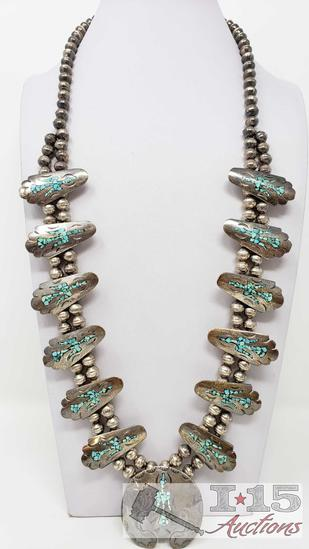 RARE VINTAGE NAVAJO GREEN TURQUOISE STERLING SILVER SQUASH BLOSSOM NECKLACE