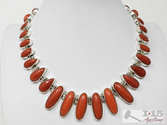 Paul Livingston Vintage Ox Blood Coral Calibrated Necklace Set in Heavy Sterling Silver