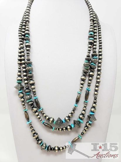 AMAZING WRAP AROUND NAVAJO TURQUOISE STERLING SILVER HANAMDE BEAD NECKLACE