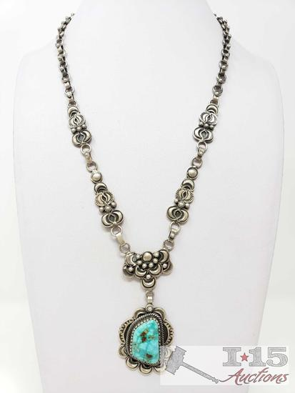 Sheila Tso Vintage Turquoise Stamp Handmade Chain Link, 65.8g