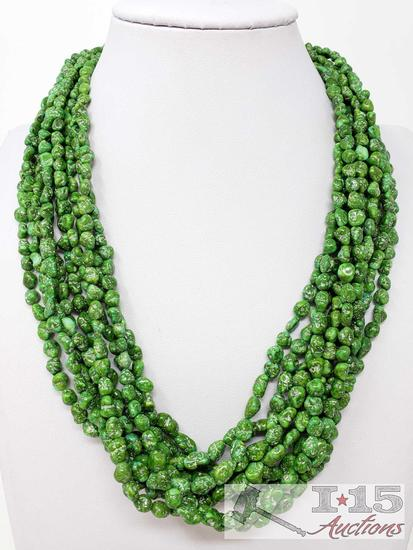 10 Strand Emerald Valley Turquoise Necklace, 156.3