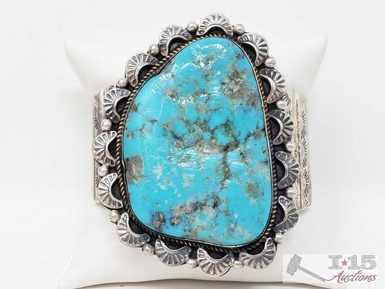 Vintage Navajo Museum Quality Sterling Silver Bracelet Having Gigantic Old Persian Turquoise Stone