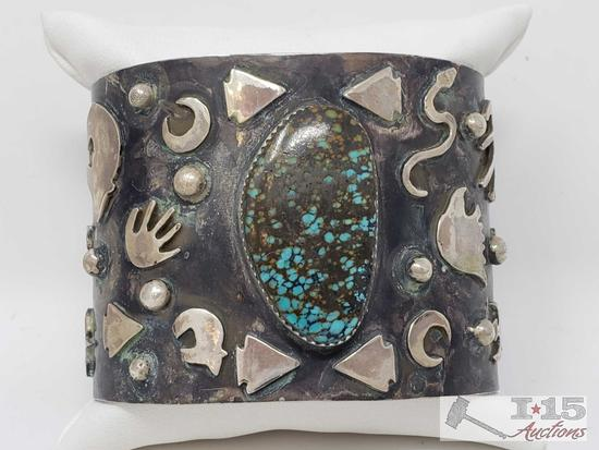 COLOSSAL NAVAJO ANCIENT PETROGLYPH TURQUOISE STERLING SILVER BRACELET (One of a Kind)