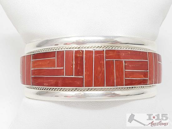 RGB Contemporary Coral Inlay Cuff Bracelet, 39.6g