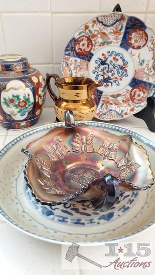 Collectors antique porcelain and carnival glass pieces!