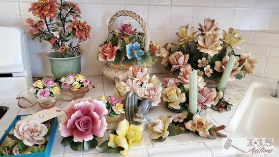 Vintage Italian Capodimonte floral porcelain