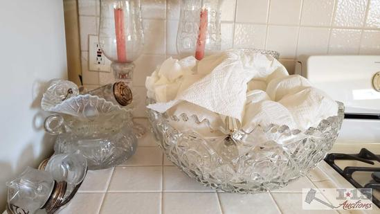 Glass Punch Bowl, Glass Candle Holders, Glass Vase and more!