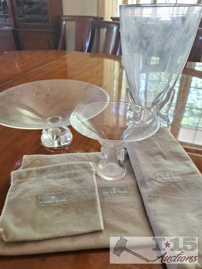 Steuben glass pieces with dust sleeves