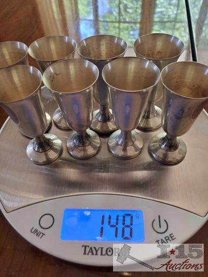 Wallace sterling silver water goblets, vintage Mexican tequila glasses (set of 8 for each)